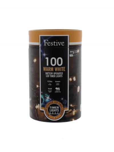 Festive - 100 battery lights - warm white, outdoor living and garden lighting