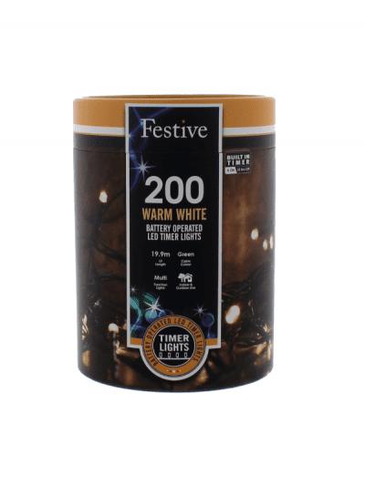 Festive - 200 battery lights - warm white