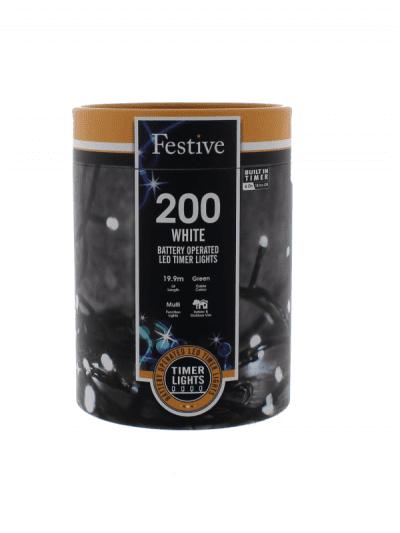 Festive - 200 battery lights - white