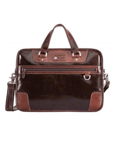 Jekyll & Hide - lmedium laptop briefcase - tobacco