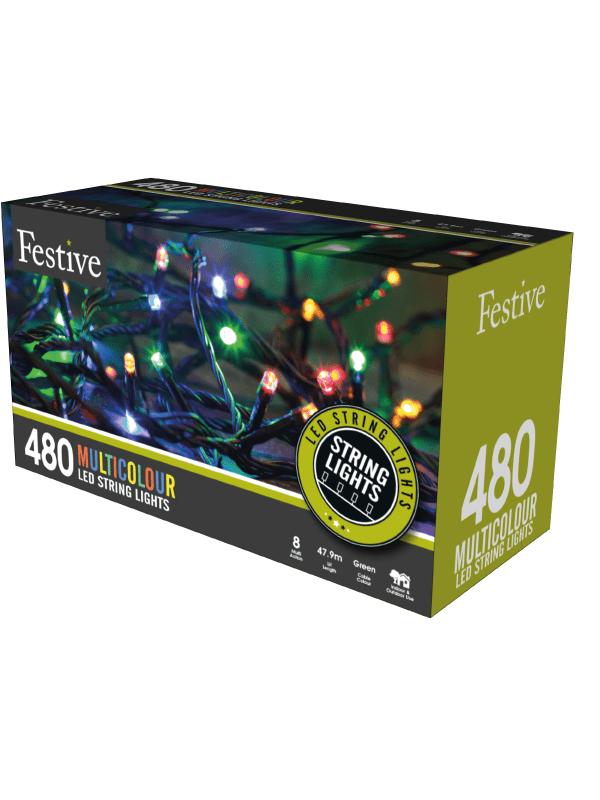 Festive - 480 timer string lights - multi-coloured
