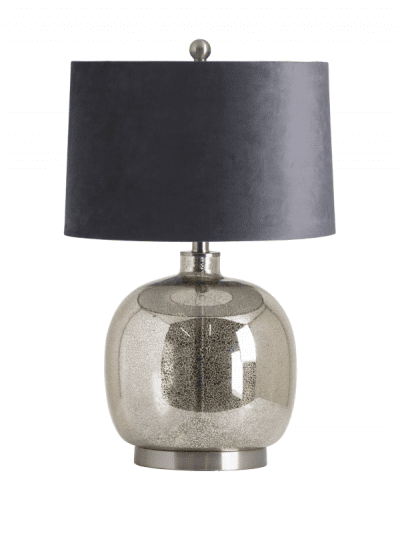 Hill Interiors - mirrored glass table lamp with velvet shade