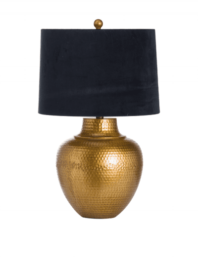 Hill Interiors - bronze table lamp with black shade, homeware