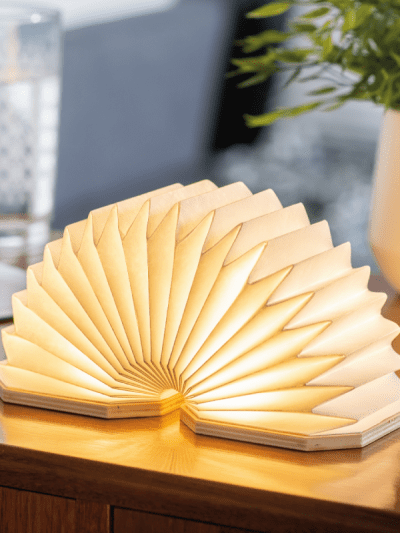 accordion smart lamp in a home