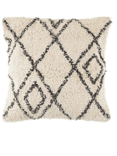 Sass & Belle berber style diamond cushion, black and white cushion with geo pattern