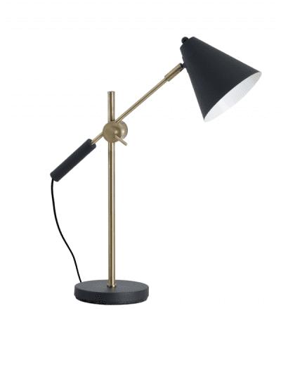 Hill Interiors - black & brass adjustable lamp, home office