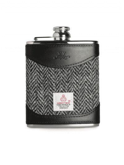 Marlborough of England 6oz hip flask - tweed & black