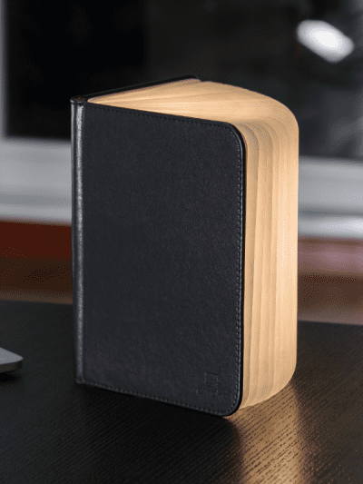 brown leather smart book light in home