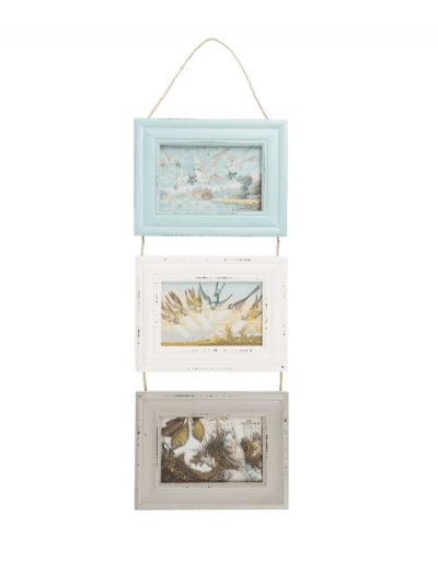 Sass & Belle triple hanging photo frame, frames in blue, white and grey