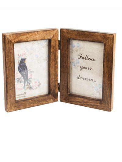 Sass & Belle double dark wood photo frame