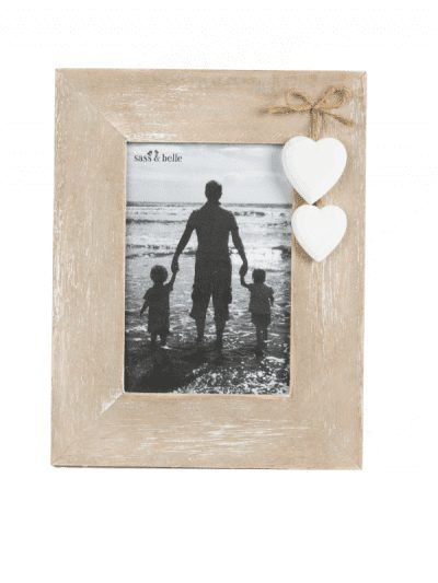 Sass & Belle farmhouse photo frame, with two white hanging hearts