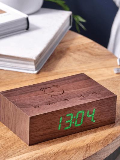 walnut wood alarm clock, in home