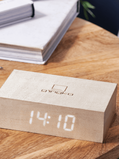 Flip Click Clock maple white in a home