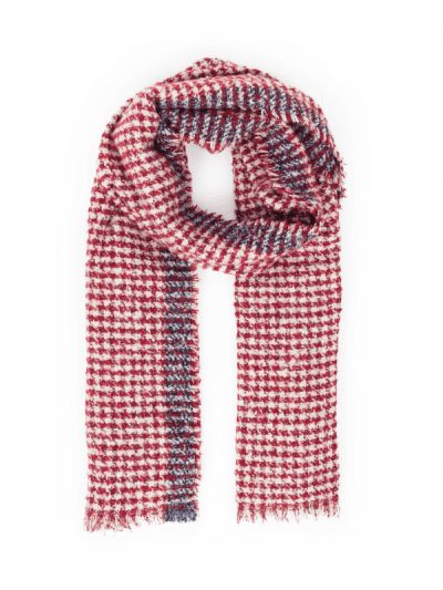 Powder red and white houndstooth scarf