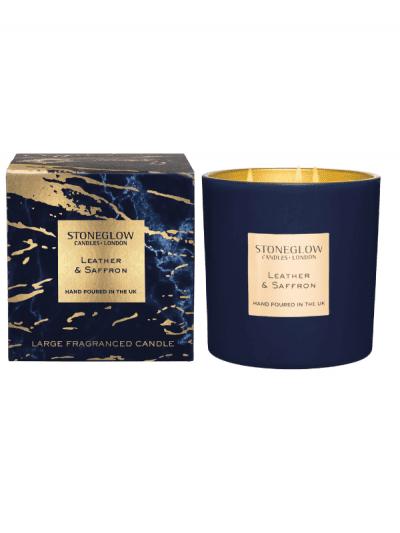 StoneGlow - leather & saffron 3 wick candle