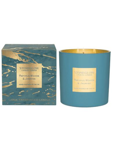 StoneGlow - papyrus woods & jasmine 3 wick candle