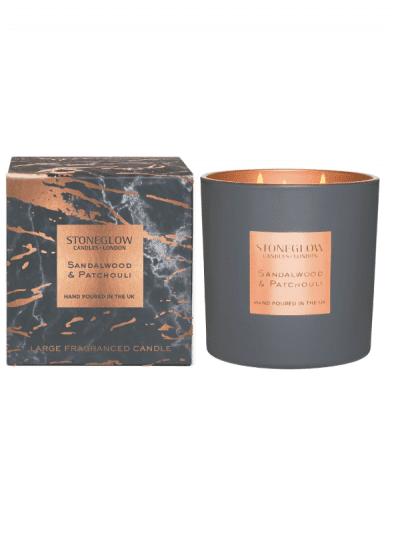 StoneGlow - sandalwood & patchouli 3 wick candle