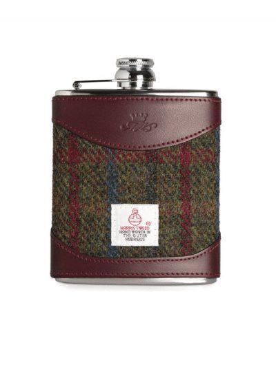 Marlborough of England 6oz hip flask - tweed & burgundy