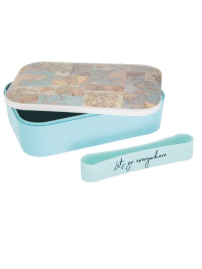 Sass & Belle world map lunch box, in blue