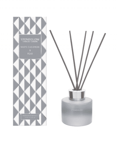 StoneGlow - cashmere and pear reed diffuser, reeds placed in stylish diffuser and on the left gift box