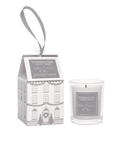 StoneGlow - cashmere and pear mini gift candle, house in a tiny cardboard house