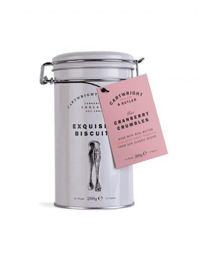 cranberry crumbles in a tin