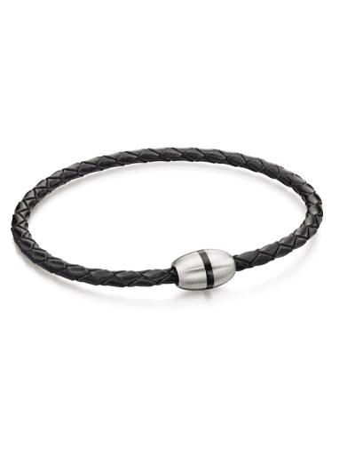 Fred Bennett - black leather & steel skinny bracelet