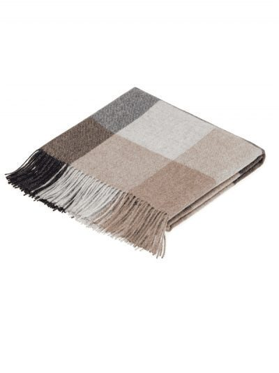 Bronte by Moon - checked throw - grey, sand, black colorways