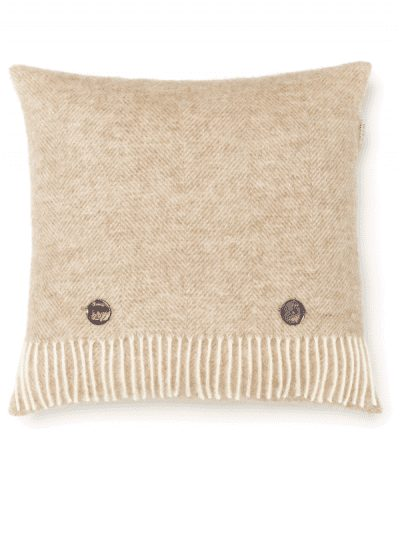 Bronte by Moon - herringbone cushion - natural fabric with buttons on the front