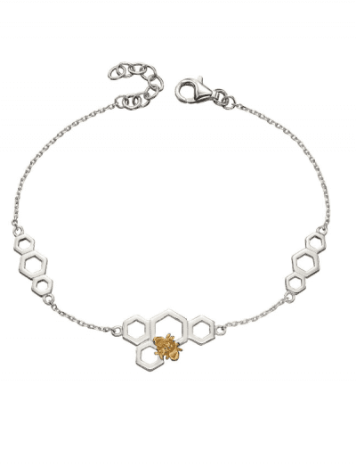 Elements Silver - bee & honeycomb bracelet