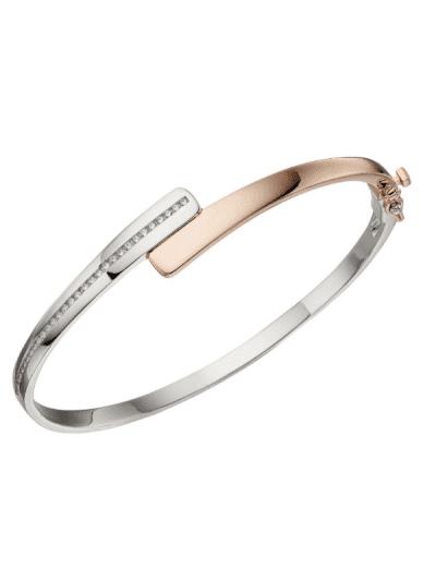 Fiorelli - hinged silver & rose gold bangle