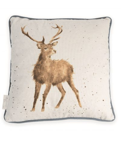 Wrendale cushion - stag print on a neutral background, home decor