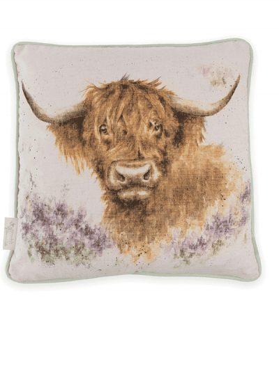Wrendale cushion - highland cow print on neutral background cushion, home decor