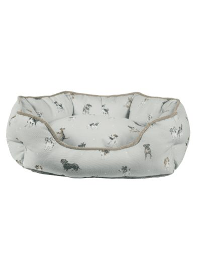 Wrendale small dog bed, grey and natural colour ways with illustrations