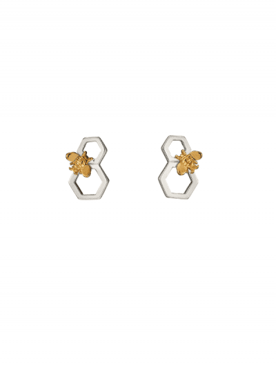 Elements Silver - bee & honeycomb earrings
