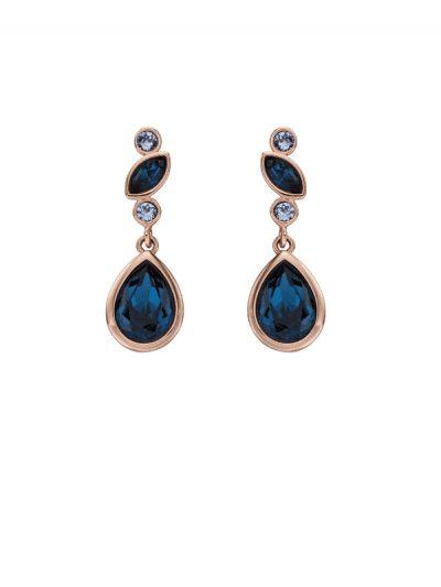 Elements Silver - Blue crystal drop earrings