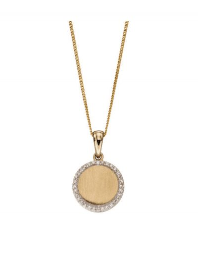 Elements Gold - diamond and gold disc pendant