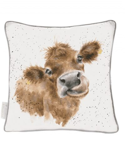 Wrendale large cushion with cow print, home decor