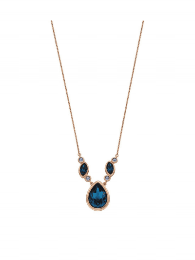Elements Silver - blue crystal drop necklace