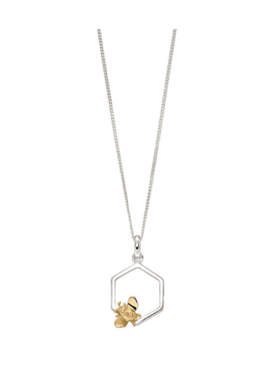 Elements Silver - bee & honeycomb necklace