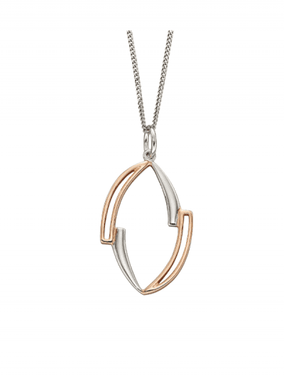 rose gold and silver pendant