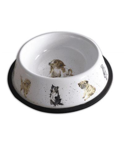 Wrendale dog bowl, illustrations on rim in colour on a white enamel bowl