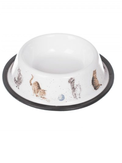 Wrendale cat bowl, illustrations in colour on a white bowl