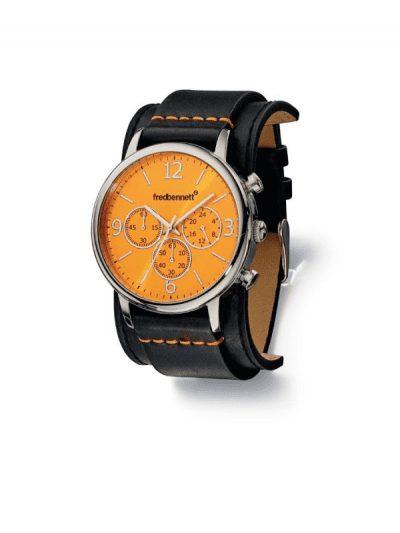 Fred Bennett watch - black strap with orange face