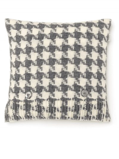 Bronte by Moon - grey and cream houndstooth cushion