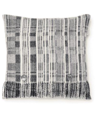 Bronte by Moon - grey multi-striped cushion