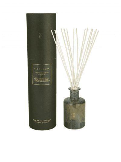 True Grace - portobello oud reed diffuser with a green presentation box