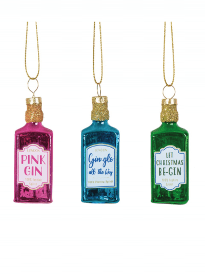 Sass & Belle gin bottle hanging decorations