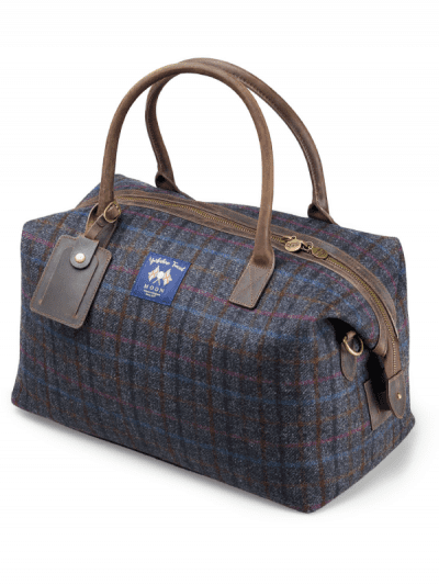 Bronte by Moon multi check navy holdall