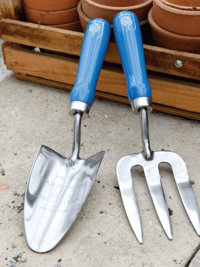 Burgon & Ball trowel and fork set blue